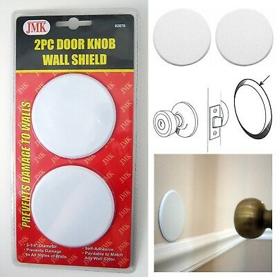 2Pc Door Knob Wall Shield Round White Self Adhesive Protector Prevents Holes ...