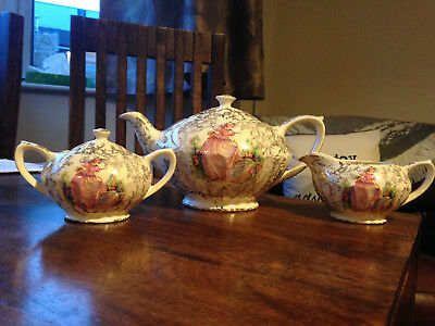 Vintage Sadler 'Pinkie' Pink Crinoline Lady Tea Set, Tea Pot Milk Jug Sugar Bowl