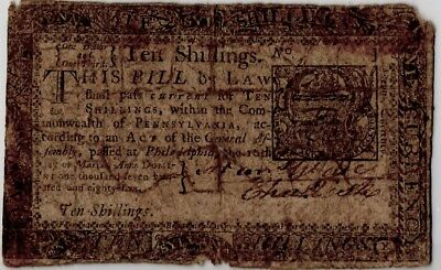 1785 Pennsylvania Colonial Currency (10 Shillings)