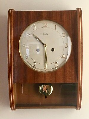 Vintage Mauthe 8 Day Wall Clock Mid Century Beauty With Chimes