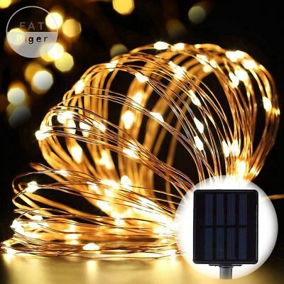 Solar Lighting String Warm White 100 LED Starry Copper Wire Ambiance Fairy Lamp