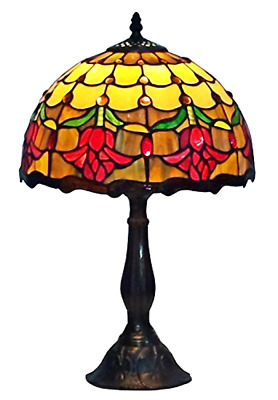"""Tiffany Style Table Lamp Tulip Flower Desk Lamps Office Home Stained Decor 12"""""""