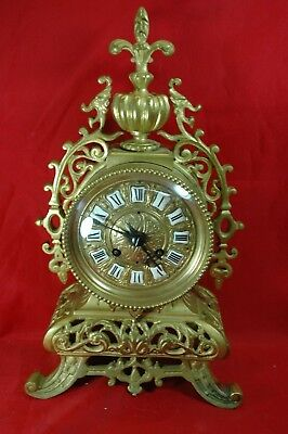 Antique French 1890 clock and garniture set in heavy brass