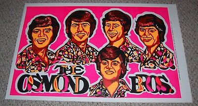 THE OSMOND BROTHERS Blacklight Poster 1971 The Osmonds Lonmill Industries Osbro