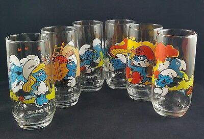 VTG Peyo 1983 Wallace Berrie & Co. Smurf Smurfs 6-pc Tumbler Drinking Glass Set