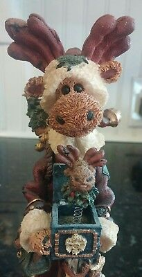 BOYDS BEARS Country Christmas MOOSE with  a JACK IN THE BOX Surprise! MINT!