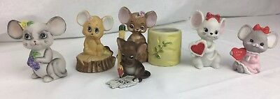 VINTAGE Josef & Lefton Mice Figurines, lot of 6 JAPAN, Valentines I love you