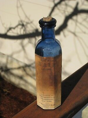 "ca.1870's C. Heimstreet - ""FULL LABEL"" - Extremely Rare Cobalt Hair Bottle!"