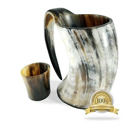 Buddha4all 36 oz Viking Drinking Horn Ale Tankard With Free Horn Shot Glass
