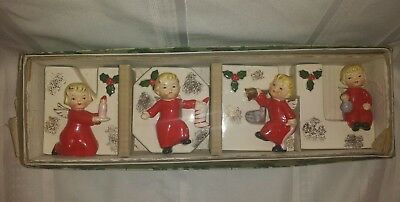 Vtg 1956 Napco Christmas Angels Noel Candle Holders Wall Pockets Orig Box