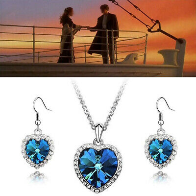 Titanic Rose Heart Of The Ocean Sapphire Blue Crystal Necklaces Earrings Set