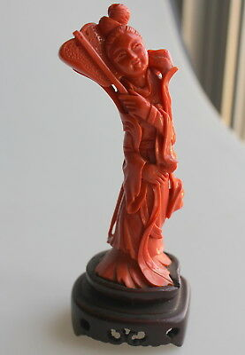 Chinese carved CORAL Guanyin 96 g - 12.5 cm - statue CHINE en Corail