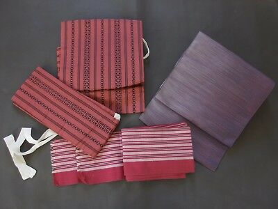 Lot of 3 Obi. Hitoe Nagoya, Tsuke Easy-tie Hakata, and Hanhaba Obi.