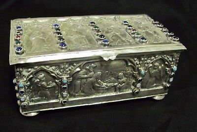 290g STERLING SILVER SNUFF ANTIQUE TOBACCO BOX TIN PICTORIAL RELIGIOUS FIGURAL