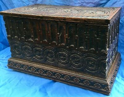 Stunning Antique Wooden Chest /Trunk /Box (Med - Size) Ecclesiastical Panelling