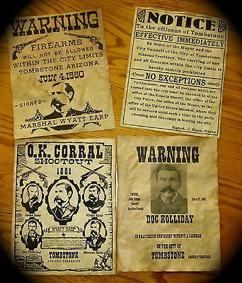 Wyatt Earp Doc Holliday O.K. Corral Tombstone Old West Warning Posters Lot of 4