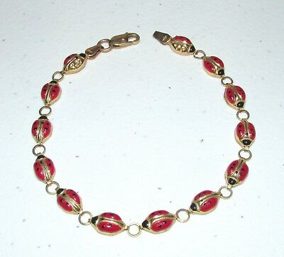Vintage Solid 10K Yellow Gold Enamel Lady Bug Link Bracelet 3 Grams NOT SCRAP