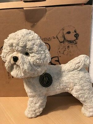 "Country Artists Top Dog Bichon Frise Sculpture Figurine~ 8"" tall  03463 w/box"
