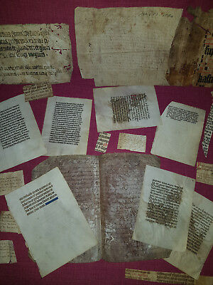 ca.1100's-1600's:Huge Fragment collection of manuscript on vellum (ca.40 pieces)
