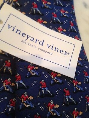 NWT Rare Vineyard Vines hockey skate 100% silk neck tie boy's free ship USA