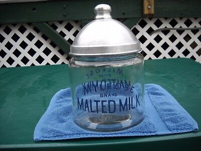 Vintage Milkose Brand Malted Milk Soda Fountain Glass Container very good shape