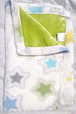Little Miracles Stars Sherpa Baby Blanket Costco Velour Blue Gray Green Yellow