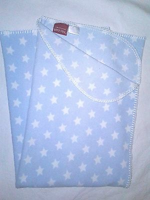 AMY COE Limited Edition Fleece Baby Blanket Light Blue White Stars Lightweight