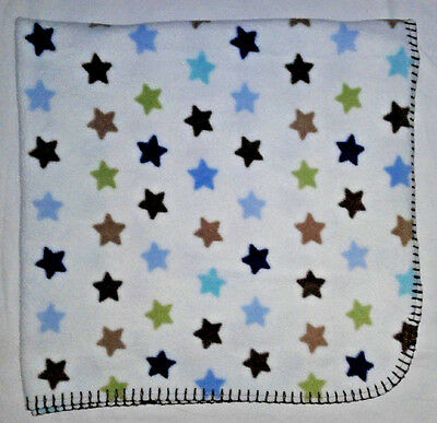 "CIRCO Unisex STAR Fleece Baby Blanket 30"" x 30"" Brown Blue Green White EUC"