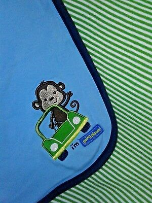 Just One Year Carter's Monkey Blanket I'm Going Places Car Blue Green Stripe