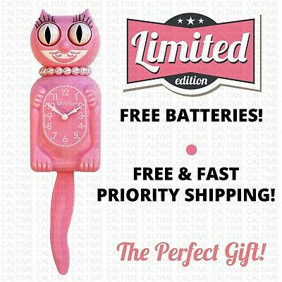 """PINK MISS KITTY CAT CLOCK (3/4 Size) 12.75"""" Free Battery MADE IN USA Kit Kat NEW"""