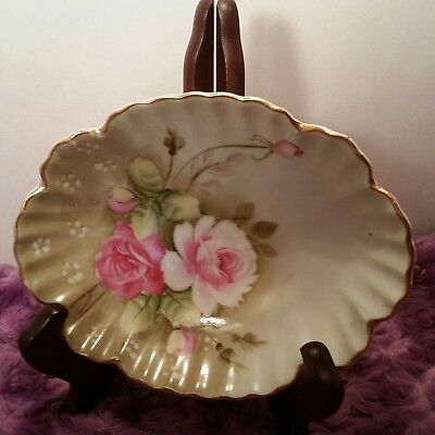 Vintage Lefton China Hand Painted Heritage Green Pink Roses Candy Dish #1860