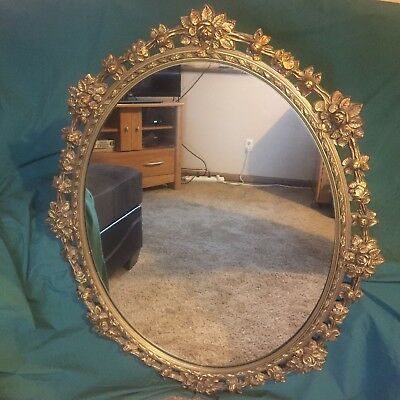 EARLY 1900s VICTORIAN FLORAL LARGE WOOD GILT GESSO CARVED OVAL HANGING MIRROR