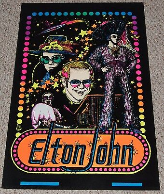 ELTON JOHN Captain Fantastic Collage Flocked Blacklight Poster 1975 Dargis