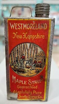 Vintage Scully Maple Syrup Westmoreland New Hampshire Sample Size Tin 3 5/16""