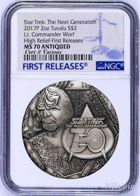 2017 STAR TREK The Next Generation COMMANDER WORF 2oz $2 SILVER COIN NGC MS70 FR