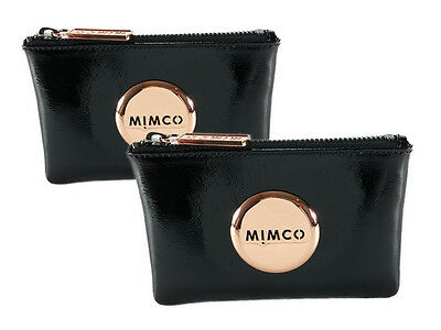 Mimco black rose gold x 2 patent leather small pouches