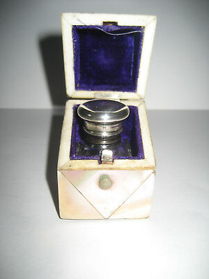 Beautiful Antique English Silver Top Scent Bottle in Mother of Pearl Box. c.1860