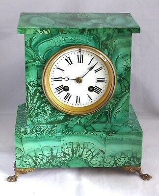 Superb RARE Antique 19th Century French Malachite Clock – Japy Freres Movement