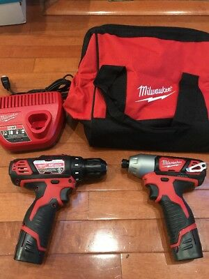 New Milwaukee 2494-22 M12 Cordless Combo Drill Kit Impact Driver 2407-20 2462-20