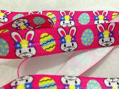 """1m/5m Easter Bunny on Pink FOE 5/8"""" Fold Over Elastic Head Band Hairties"""