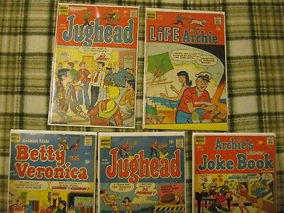 Lot of 5 Archie's Comics Jughead, Life With Archie, Betty and Veronica + 1968-71