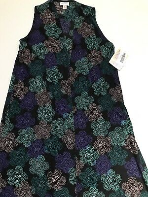 LuLaRoe Joy Vest Size XS Black With Flowers NWT Chiffon Material