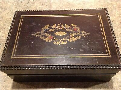 19th Century Sewing Box with Inlaid Design-Lined-Tools