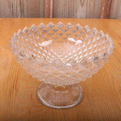 Vintage Clear Glass Diamond Pattern Saw Tooth Compote Footed Candy Bowl Dish