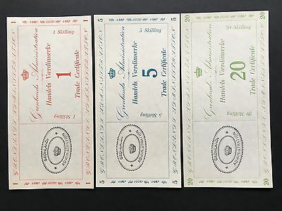 Greenland 1942 complete Trade Certificates 1, 5, and 20 skilling  banknotes UNC