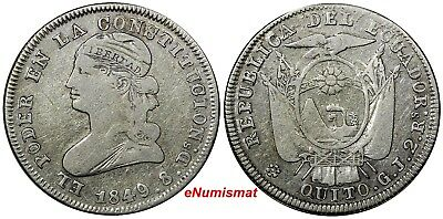 ECUADOR Silver 1849 GJ 2 Reales VF Condition SCARCE KM# 33
