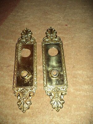Antique Vintage Cast Brass Matching Door Knob Back Plates Set of 2 Victorian