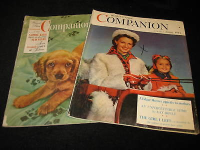 """Lot Of 2 Vintage """"companion"""" Magazines - October 1941 & January 1944 Issues"""