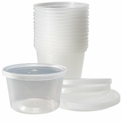 50 Sets 16 Oz Plastic Soup Food Containers Lids Clear Heavy Guage Polyethylene