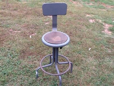 Vintage steampunk swivel drafting stool Art Deco retro engineer Steel